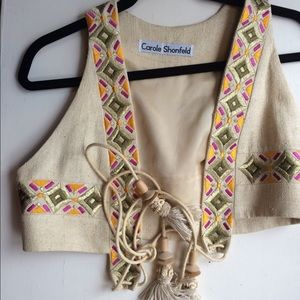 Embroidered cropped vest